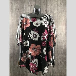 Alyx Plus Size 1X Floral Dolman batwing Sleeve Top
